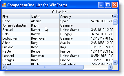 ComponentOne List for WinForms - List for WinForms Overview